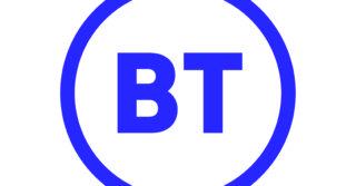 BT logo blue BT letters inside blue circle