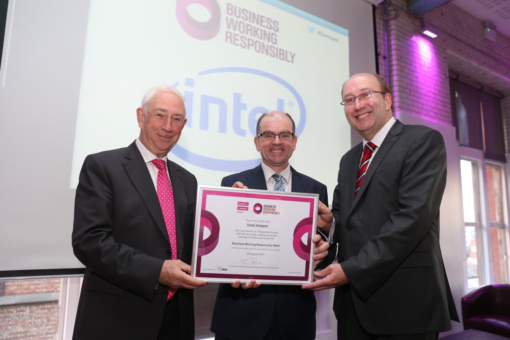 Pictured from left Kieran McGowan Chairman BITCI with Leonard Hobbs Director Global Public Affairs Intel accepting the Mark for the third time and Maurice Buckley CEO NSAI