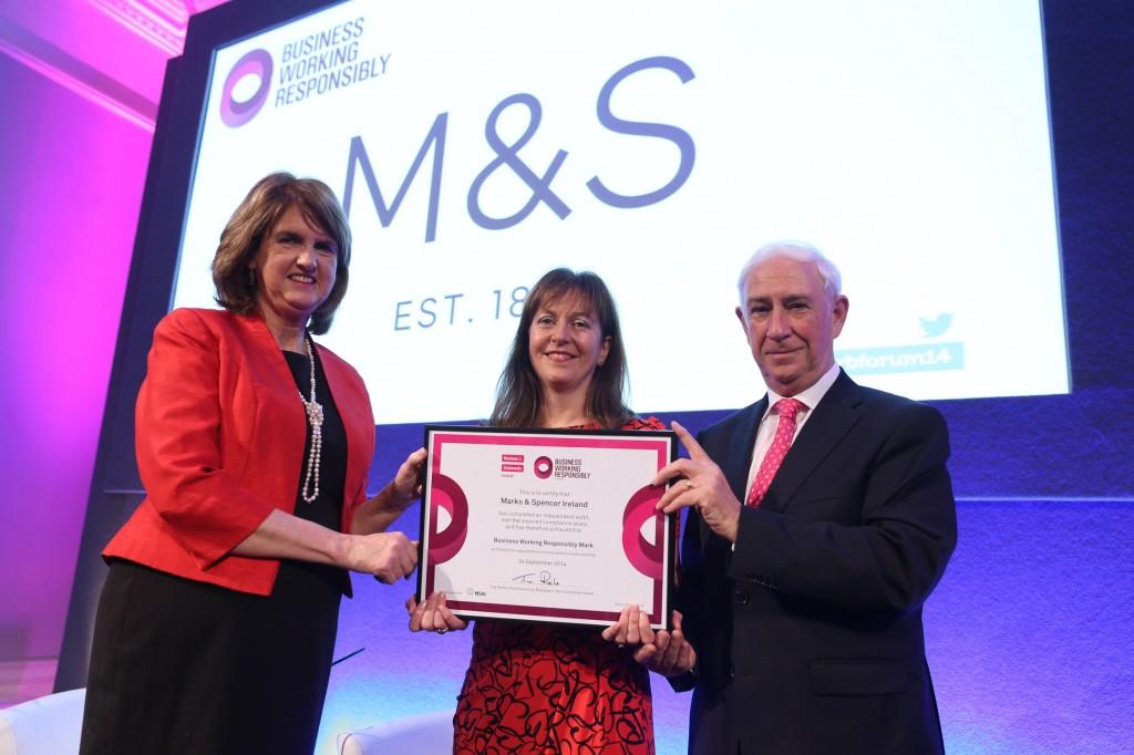 Pictured Tanaiste Joan Burton with Alison Grainger Head of Ireland M&S and Kieran McGowan Chairman BITCI