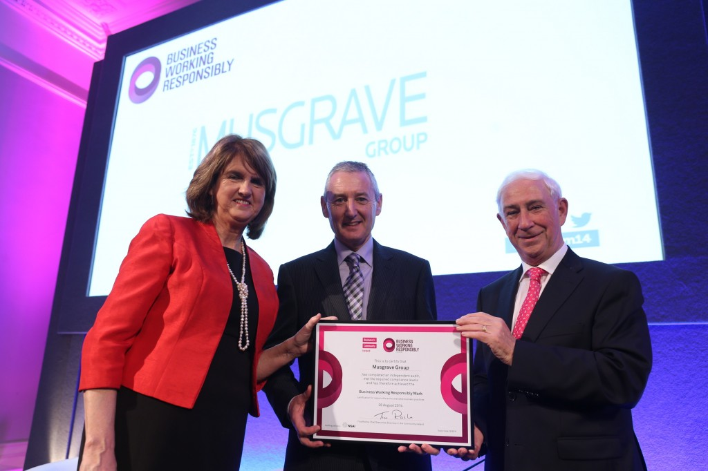 Pictured from left to right: Tanáiste Joan Burton, John Curran, Head of Sustainability, Musgrave Group and Kieran McGowan, Chairman of BITCI