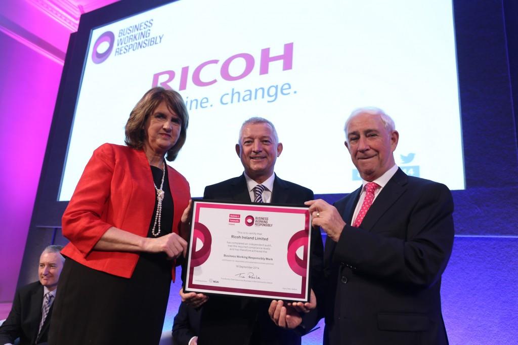 Pictured is Tanaiste Joan Burton with Gary Hopwood General Manager Ricoh Ireland, Kieran McGowan Chairman BITCI