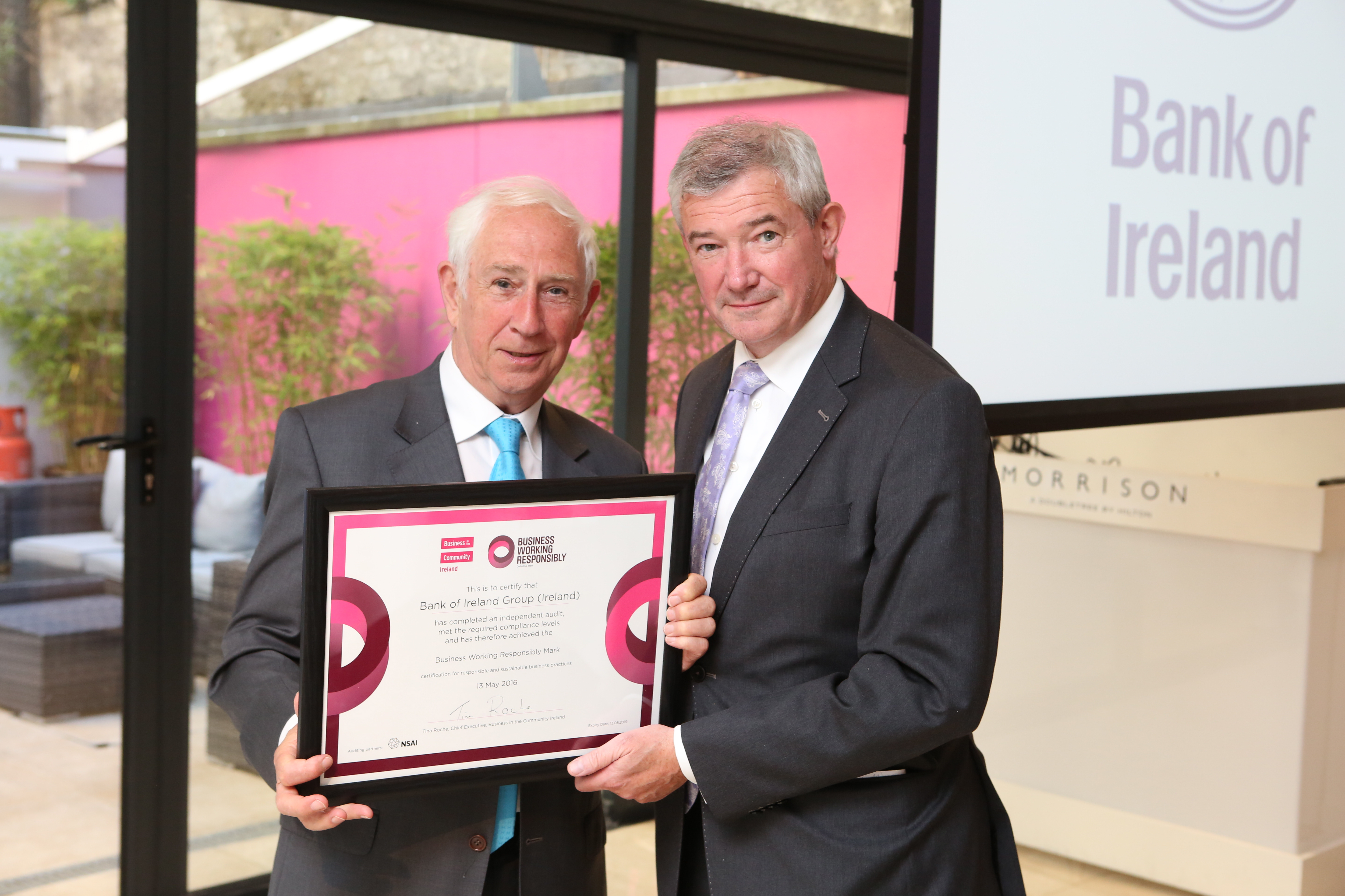 Kieran McGowan, Chairperson Business in the Community Ireland with Richie Boucher, Group Chief Executive Bank of Ireland