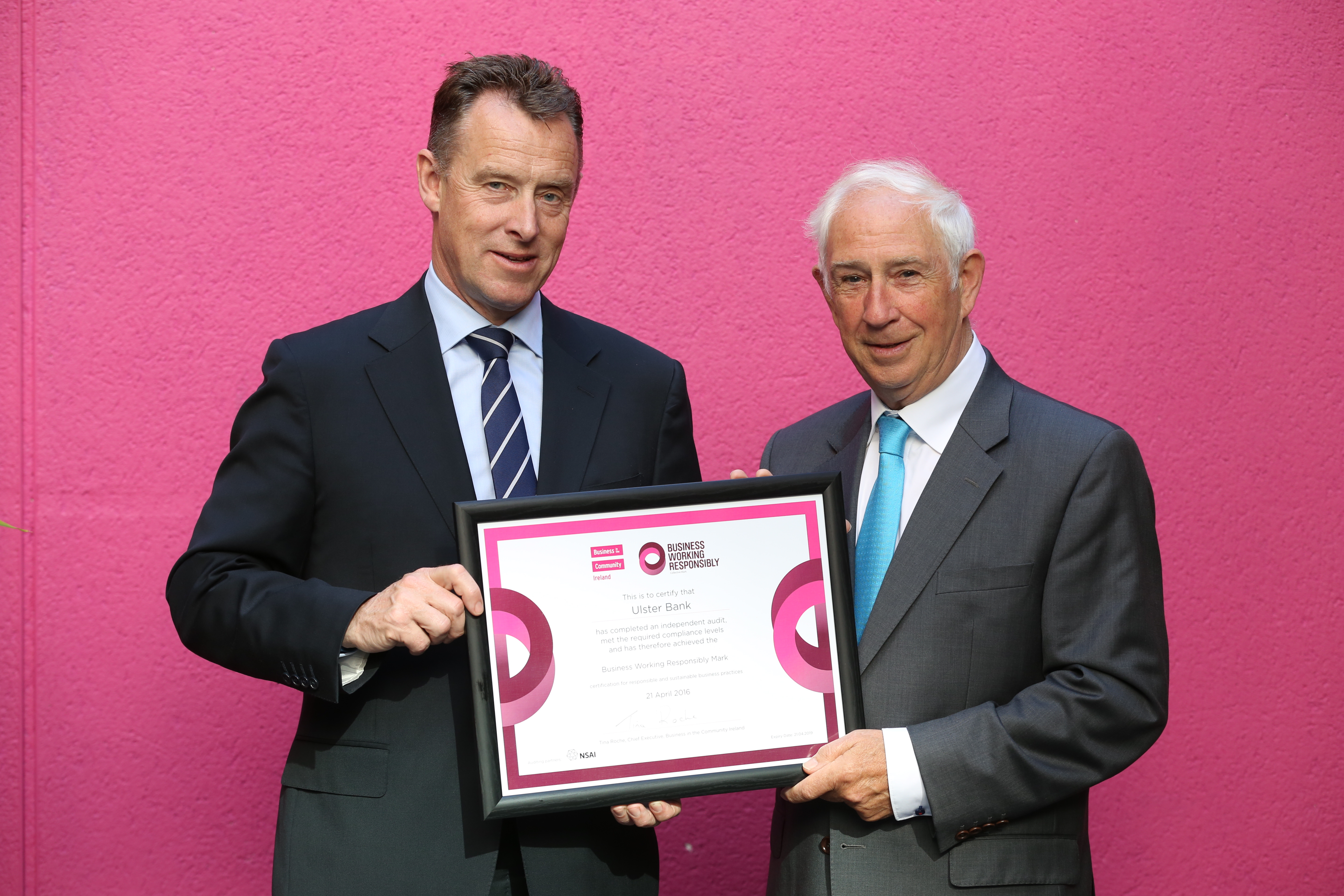 Paul Stanley, Interim CEO Ulster Bank with Kieran McGowan, Chairperson