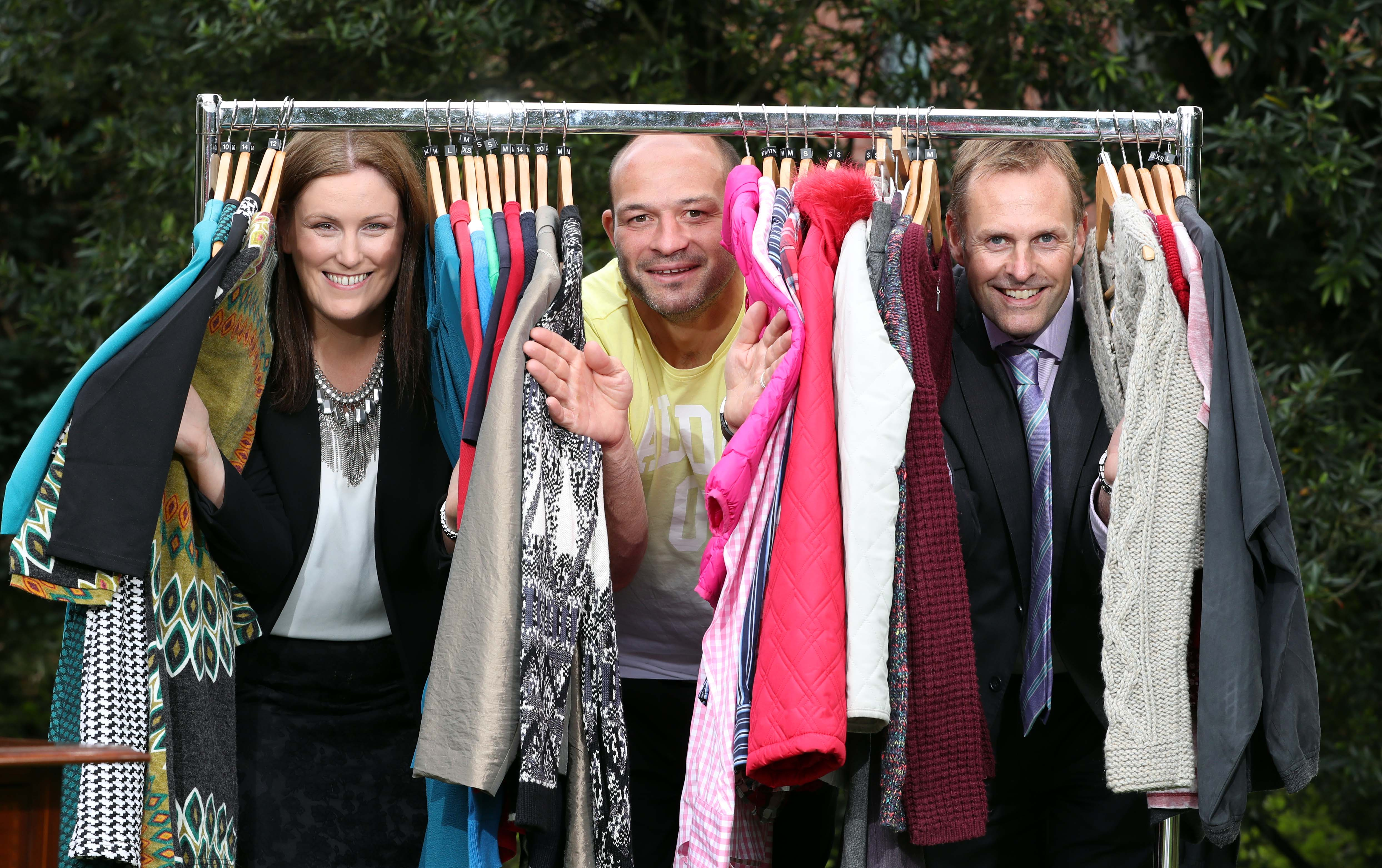 Press Release Image Press Eye Belfast - Northern Ireland Tuesday 27th September 2016 Photographer William Cherry / Press Eye 49% of people surveyed in Ireland wear just half of the clothes in their wardrobe on a regular basis while 25% have six or more items in their wardrobe that they have never worn once, according to a survey commissioned by communications company BT Ireland to launch BT Shop for Change in aid of the Irish Cancer Society. The survey revealed that the nation still loves the catharsis of a good clear-out. 60% de-clutter at least twice a year, while 89% claim a clear-out makes them feel either good or brilliant. Charity shops are benefiting, with 80% of people donating their unwanted items to charity. On October 13, over 110 BT Ireland employees will take over nine Irish Cancer Society charity shops in Dublin, Galway and Cork as part of BT Shop for Change, designed to raise crucial funds for cancer research and care. The campaign has raised in excess of Û300,000 over the last five years. Pictured from left are: Oonagh OÕMahony, Area Retail Manager, Irish Cancer Society, Rory Best, Ireland rugby captain and BT Shop for Change ambassador and Mark Hopkins, Director of Sales, BT Ireland. For more information on the campaign and participating stores, visit www.btireland.com/ShopforChange