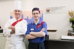 Ready for Work participant Anthony Brennan and Sodexo Chef Manager Colin Byrne Central Bank Iveagh Court 15Nov16