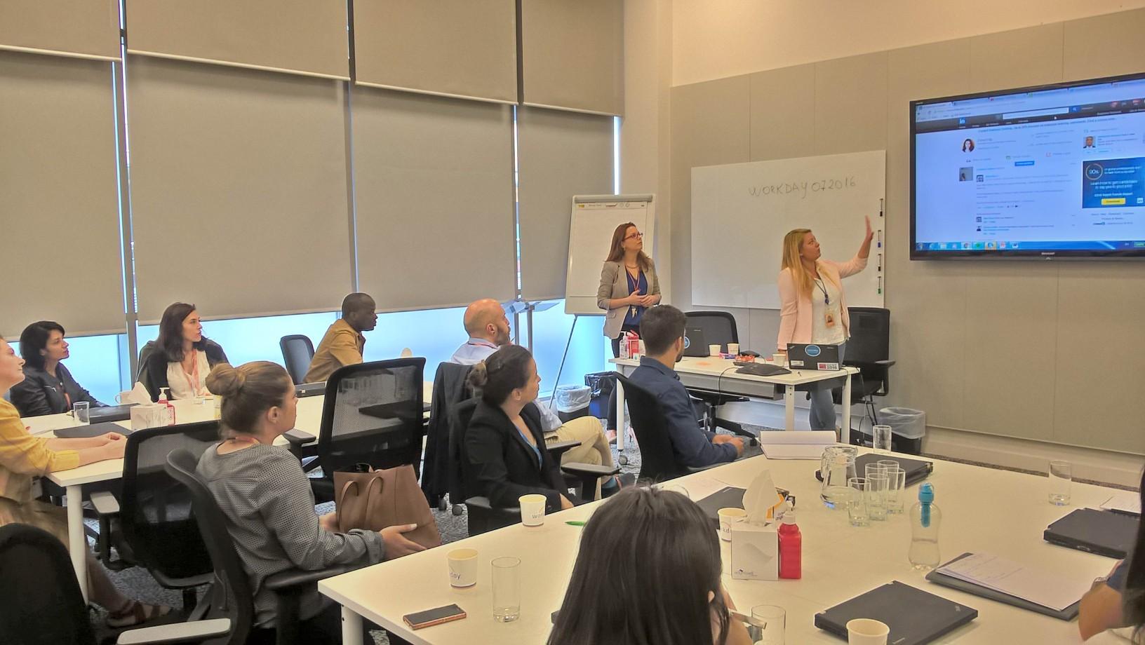 Clodagh, Elena and group learning LinkedIn 20Ju16