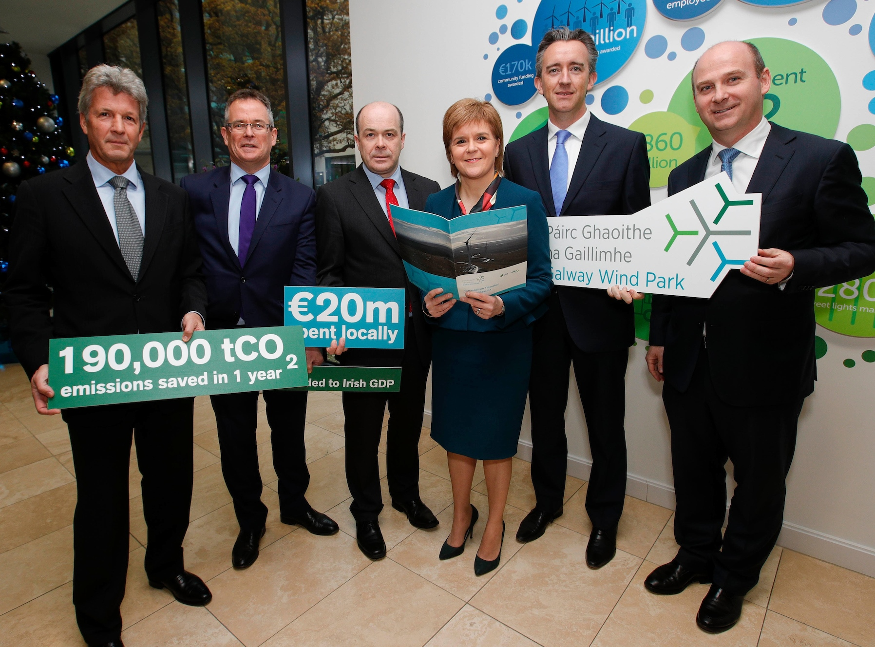 "School pupil Grace Hooper (14) from St. Paul's Secondary School in Oughterard, Co. Galway, presented her prize-winning photo 'Snow-capped mountains, Connemara' to First Minister of Scotland, Nicola Sturgeon, and Ireland's Climate Action Minister Denis Naughten at the launch of the Galway Wind Park Sustainability Impact Report at green energy provider SSE Ireland's HQ in Dublin. Grace said: ""I was delighted to be able to present my picture to First Minister Sturgeon and Minister Naughten. I'm really happy I won the competition. I didn't expect it at all!"" Picture Conor McCabe Photography."