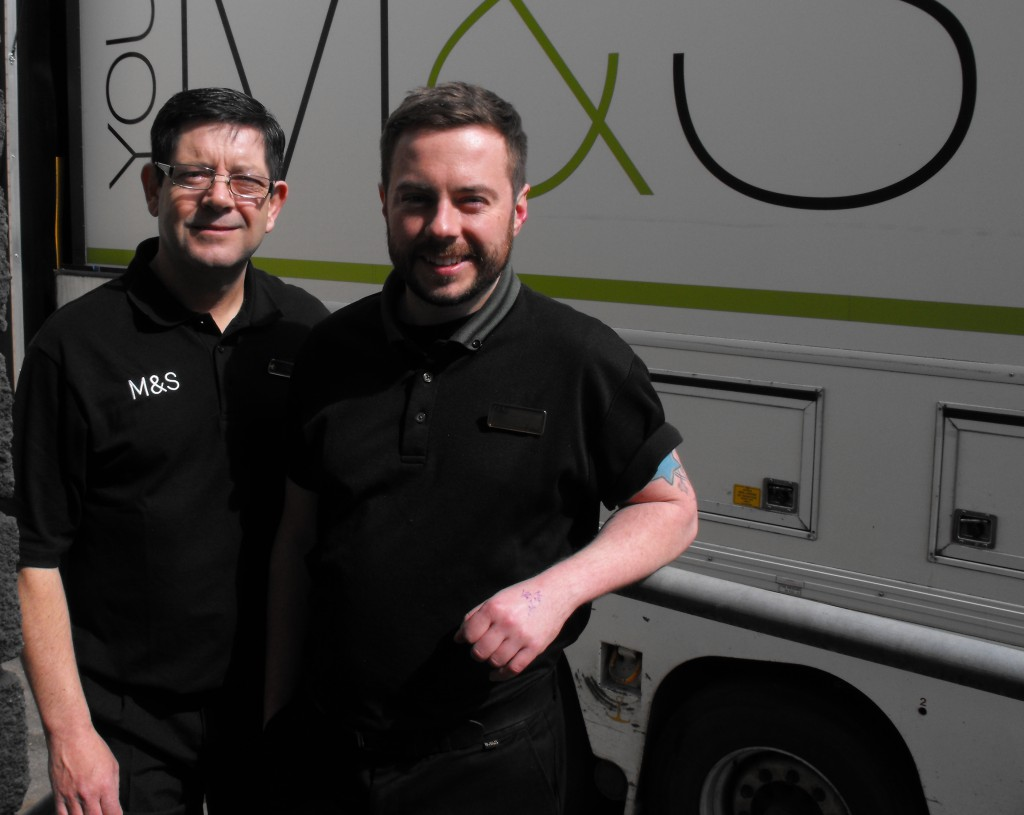 Ready for Work Participant Martin with Buddy Paul, Dublin Mary Street Loading Bay, April 2016