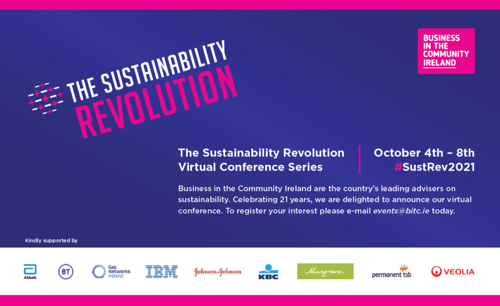 The Sustainability Revolution conference branding and logos of Sponsors