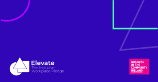 Dark purple image with colourful geometrical shapes in backround. Elevate Pledge logo in bottom left corner and BITC logo in bottom right corner