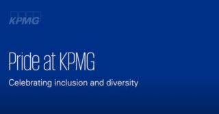 Dark blue image with KPMG logo and text that says Pride at KPMG Celebrating inclusion and diversity