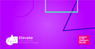 Bright pink image with colourful geometrical shapes in background. Elevate Pledge logo in bottom left corner. BITC logo in bottom right corner