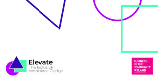 White background with colourful geometrical shapes, the Elevate pledge logo on the left bottom corner and the BITCI logo on the right bottom corner