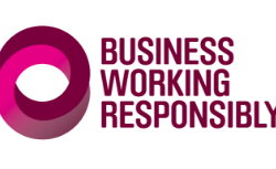 White background with purple writing saying business working responsibly