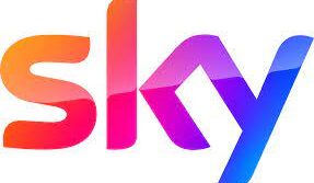 sky logo with orange, red, purple and blue gradients on white background