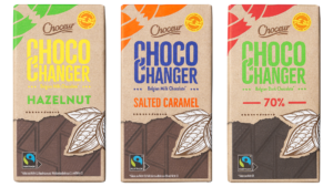 Photo with three of Aldi's Chocochanger chocolates