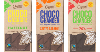 Photo with three of Aldi's Chocochanger chocolates chocolate bar
